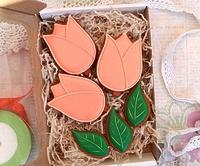 Набор пряников на 8 марта (тюльпаны+листики)